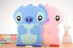 Cute 3D Stitch Soft Silicone Case Cover for iPad mini -- Blue / Pink