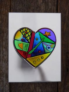 Framed Mosaic Style Dichroic Fused Glass Heart