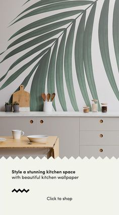 Create a cool minimalist style that's bang on trend with this fresh tropical palm leaves wallpaper, a contemporary mural. Kitchen Feature Wallpaper, Kitchen Wallpaper Murals, Nursery Wallpaper, Palm Leaf Wallpaper, Scandinavian Kitchen, Beautiful Wallpaper, Custom Wallpaper, Wall Murals, Wall Art