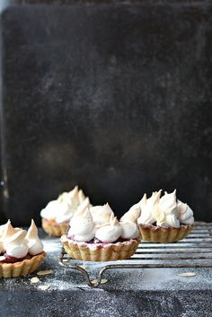 Cherry meringue tartlets
