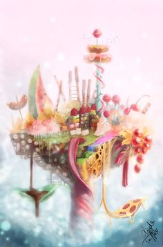 by Enigmasystem on DeviantArt Fantasy Kunst, Fantasy Art, Kawaii, Bg Design, Candy Paint, Candy House, Food Fantasy, Vanellope, Fantasy Landscape