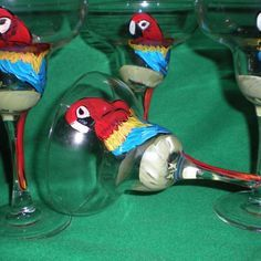 Hand painted parrots on margarita/set of 4