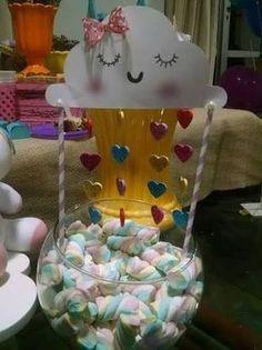 Algunas Ideas para Fiesta con Tema de Nubecitas Rain Baby Showers, Baby Shower Parties, Baby Shower Themes, Baby Boy Shower, Rainbow Birthday, Unicorn Birthday Parties, Baby Birthday, Birthday Party Decorations, Cloud Party
