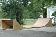 A bit dangerous, but wouldn't you rather have your skater get hurt close to home?  Skate ramp plans - half pipe
