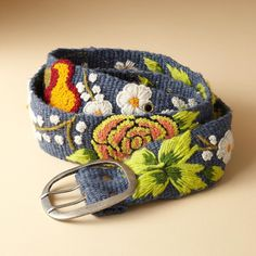 """BOTANICA BELT--Our vibrant wool belt brightens any wardrobe. Each is unique. Imported. Exclusive. Sizes S (23"""" to 31""""), M (28"""" to 37""""), L (34"""" to 43""""). 2""""W."""