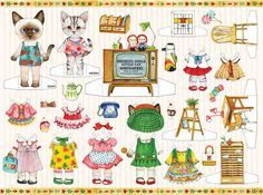 Paper Doll Clothes Dress Adorable Little Cat Kitty Illustration Doll Lot 4 Sheet