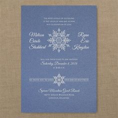 Flurry of Love - Classic Invitation - 26 different colors - 40% Off http://mediaplus.carlsoncraft.com/Wedding/Wedding-Invitations/3214-MM214931124-Flurry-of-Love--Classic-Invitation--Sapphire-Shimmer.pro An intricate snowflake design dresses up this sapphire shimmer invitation.