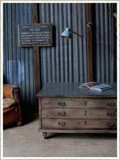 Zinc topped oak plan chest coffee table