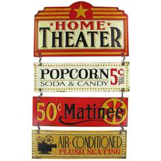 Home Theater Linked Embossed Tin Sign