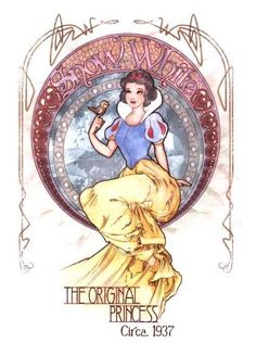 Whispering Lion's Den , The Disney Princesses In Art Nouveau