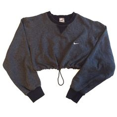 Reworked Nike Crop Sweatshirt Charcoal ($48) found on Polyvore featuring tops, crop top, nike tops and nike