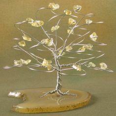 Citrine and Silver Wire Tree Sculpture - November | byapryl - Sculpture on ArtFire