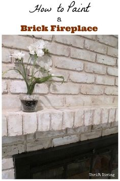 VIDEO TUTORIAL: How to Paint a Brick Fireplace. If you've got an old, ugly 1970's brick fireplace, don't worry--it's possible to paint it so that it still looks like brick, while lightening up the room! Click the link to head to YouTube to watch my complete tutorial. | Thrift Diving
