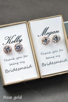 Rose Gold Earrings,cubic zircon,Wedding Jewellery,Rose Gold Bridal Jewelry SET,silver set,Bridal Set,Bridesmaids Jewelry Set,Crystal Pendant...