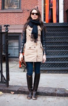 I'm so into the leather sleeve thing, but mixed with a classic trench I love it even more.