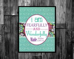 Kids and Nursery decor Kids digitial bible verses, I am fearfully and wonderfully made instant download by ThePaperLace, $6.00