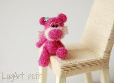 Little naughty Pink, miniature needle felted bear.