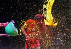 Holi celebrations 2014 - Photos - The Big Picture - Boston.com  A man reacts to colored water being splashed over him during Holi celebrations in the southern Indian city of Chennai on March 17. (Biju Boro/AFP/Getty Images)