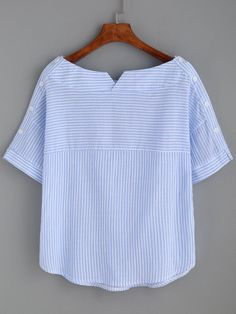 Blouses by BORNTOWEAR. Striped Boat Neck Blouse With Buttons