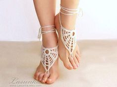 Ivory barefoot sandals, nude shoes, barefoot sandles, foot jewelry, wedding, victorian lace,  yoga, bellydance, stempunk
