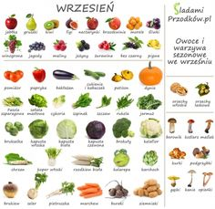 sladami-przodkow-infographic-owoce-warzywa-sezonowe-wrzesien Healthy Diet Recipes, Healthy Habits, Vegan Recipes, Healthy Eating, Healthy Food, A Food, Good Food, Food And Drink, Health And Nutrition