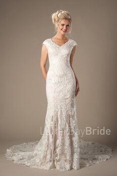 modest wedding dress with lace, the Lilyrose with mermaid silhouette