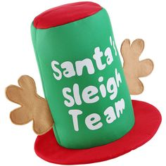 Become a member of Santa's sleigh team and wear this festive top hat!  Featuring reindeer antlers with traditional green and red festive colours, this Christmas hat will be a welcome addition on Christmas Day!