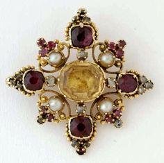 Victorian Citrine, Garnet and Diamond Brooch