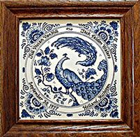 Blue and white marriage tile framed