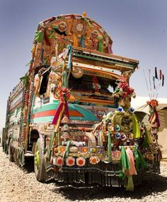 A look at truck art cultural in Pakistan. Also known as jingle trucks, we look at the history of the artform in South Asia and the cultural—and economic—meaning behind the ornate paintings and decoration places on trucks in the area. Gypsy Caravan, Gypsy Wagon, Glamping, Future Trucks, Estilo Hippie, Hippie Love, Boho Hippie, Bohemian Style, Visit India