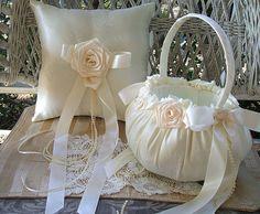 VICTORIA Flowergirl Basket & Ring Pillow by RoseGardenStitches