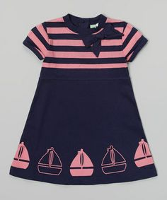 Another great find on #zulily! Navy & Pink Sailboat Babydoll Dress - Infant, Toddler & Girls #zulilyfinds