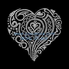 Crystal Heart Rhinestone Motifs For Girls Tshirt