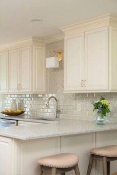 Kitchen Redo, Home Decor Kitchen, Interior Design Kitchen, Home Design, Home Kitchens, Home Depot Kitchen Remodel, Backsplash Kitchen White Cabinets, Kitchen Tiles, Kitchen Countertops