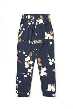 Ryder Crepe Pants, Navy Japanese Flower