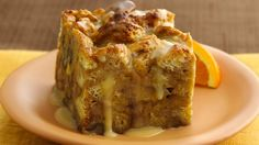 This easy bread pudding starts with convenient Pillsbury® refrigerated rolls baked in an egg mixture and is finished with a drizzle of buttery vanilla glaze. What a sweet breakfast treat!