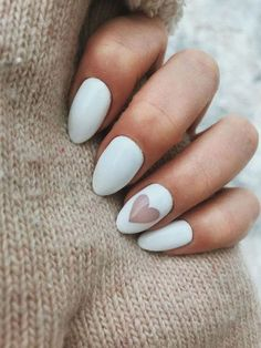 Cute Nail Designs for Every Nail - Nail Art Ideas to Try - Do you get overwhelmed when choosing your manicure? We have gathered 50 best cute nail designs suit - Cute Nail Art Designs, Heart Nail Designs, Valentine's Day Nail Designs, White Nail Designs, Nails Design, Minimalist Nails, Nail Art Blanc, Gel Nagel Design, White Nail Art