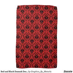 Shop Red and Black Damask Design. Towel created by Graphics_By_Metarla.