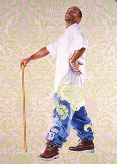"""""""Portrait of Andreis Stilte II"""" by Kehinde Wiley. 2006 oil and enamel on canvas. In the collection of  The Columbus (OH) Museum of Art."""