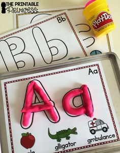 "Also have a tub of objects on table and do not have pictures of A objects below so they find the right items Alphabet play dough mats. Easy for beginning kindergarten because the letters on mat look like real play dough ""snakes"". Kindergarten Centers, Kindergarten Literacy, Preschool Learning, Kindergarten Classroom, Fun Learning, Learning Spanish, Early Literacy, Literacy Centers, Alphabet Activities"
