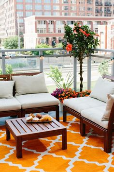 Jen Serafini's Chicago Apartment Tour Cheery outdoor patio lounge space with ikea furniture Balcony Chairs, Balcony Furniture, Ikea Furniture, Furniture Sale, Balcony Railing, Apartment Furniture, Balcony Garden, Wooden Furniture, Furniture Ideas