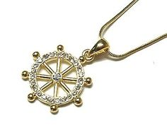 Nautical Ship Wheel Clear Crystal Necklace Ocean /Beach Theme Necklace Gold in Necklaces & Pendants | eBay