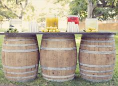 Wine Barrel as a refreshment table