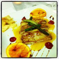 Solomillo de cerdo con salsa de naranja.