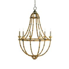 Palm Beach  Pyrite Bronze and Washed Wood and Natural Six-Light  Chandelier