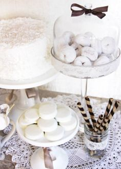 white party - love the idea of white donuts.  sorry, but what says church and First Communion like donuts?  ha! @Sarah Heim