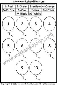 Color by Number – Balloons – One Worksheet
