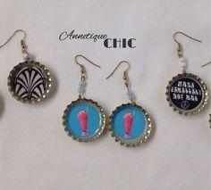 Retro 1920s 30s 40s 50s 60s Bottle Top Earrings