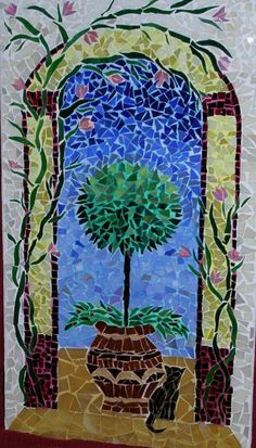 Mosaic Cat And Tree