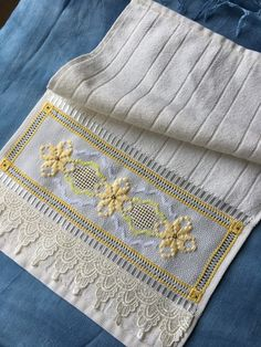 Cream embroidered hand towel in Hardanger Embroidery, Cross Stitch Embroidery, Embroidery Patterns, Hand Embroidery, Xmas Cross Stitch, Chicken Scratch, Flower Crafts, Hand Towels, Blackwork